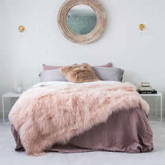 Mongolian Sheepskin Blanket - Blush Pink