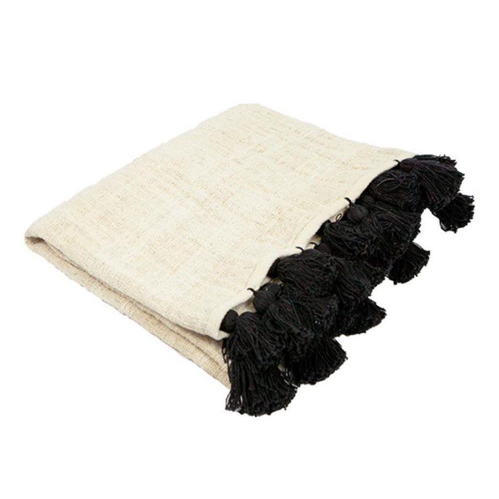 Natural Linen Throw with Black Tassels