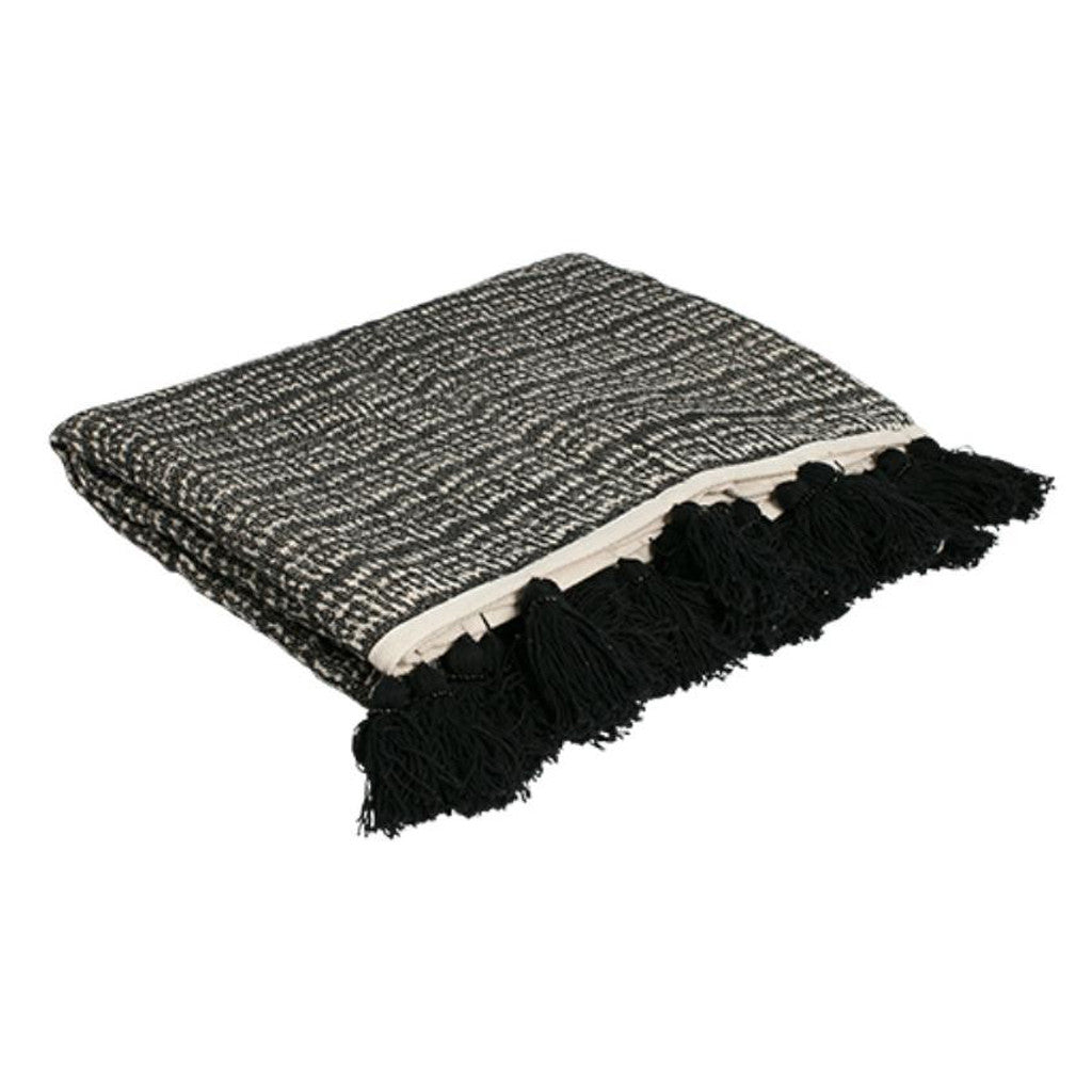 Natural & Black Weave Throw with Black Tassels