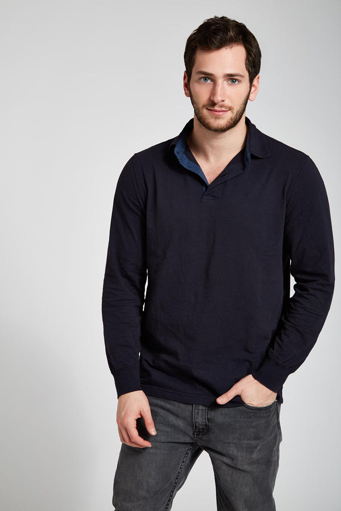 Fine Soft Cotton Polo - Deep Navy