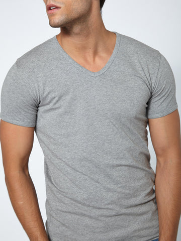 Muscle Fit V Neck - Grey Melange