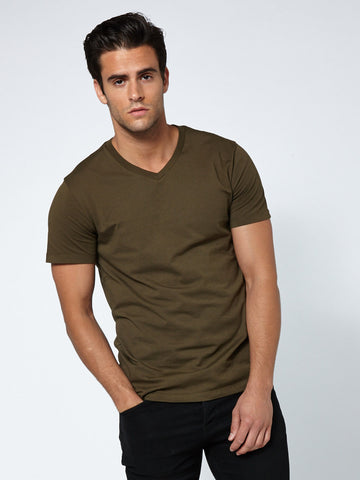 Tailored V Neck - Deep Moss Green