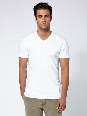 Brushed Cotton V Neck - Clean White