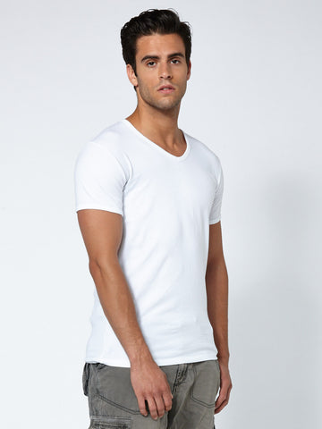 Muscle Fit V Neck -Clean White