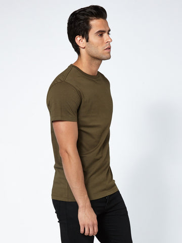 Tailored Crew Neck - Deep Moss Green