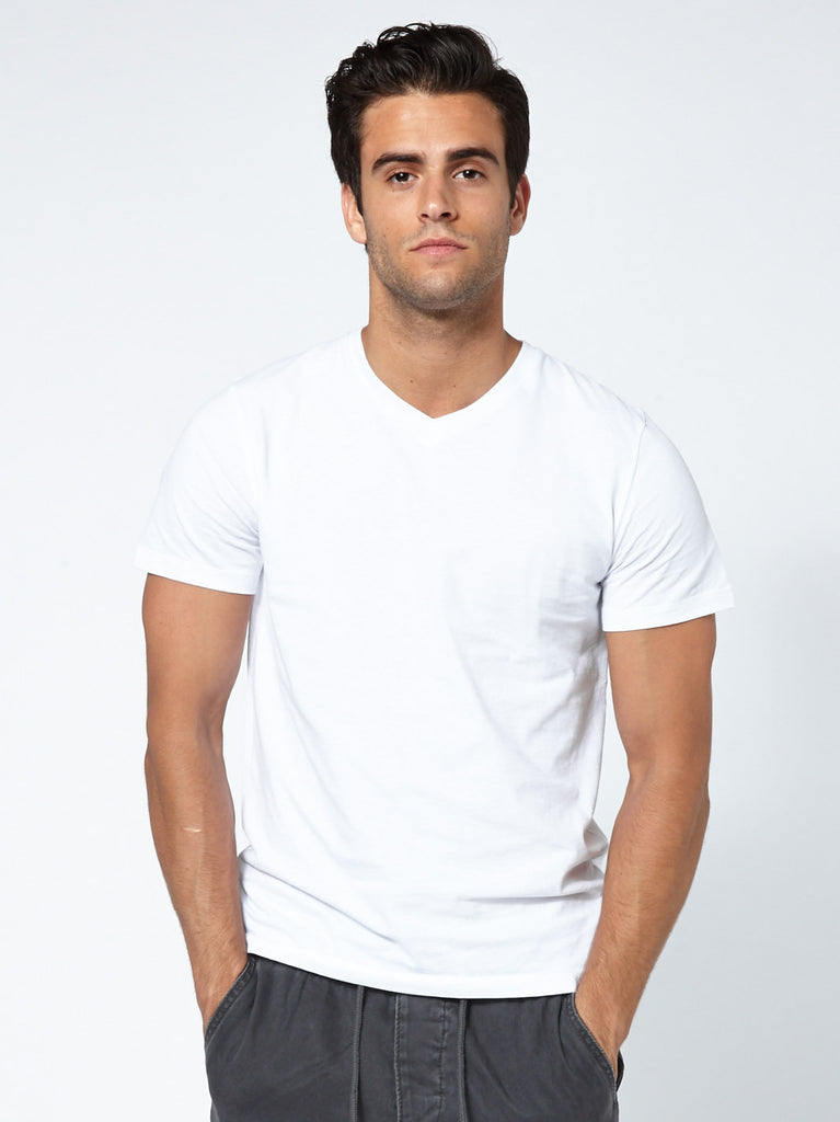 Tailored V Neck - Clean White