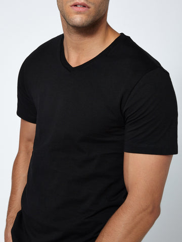Tailored V Neck - Deep Black