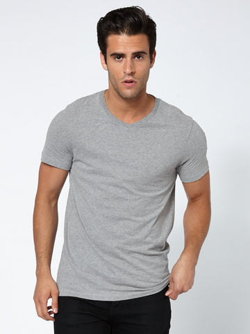 Tailored V Neck - Grey Melange