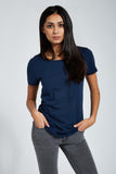 Fitted Crew Neck T Shirt : Heather Navy