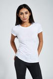 Fitted Crew Neck T Shirt : White Melange