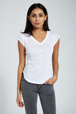 Shoulder Cut T Shirt : White Melange
