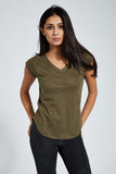 Shoulder Cut T Shirt : Deep Khaki