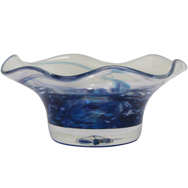 HAND-BLOWN GLASS BOWL-Blue Heather