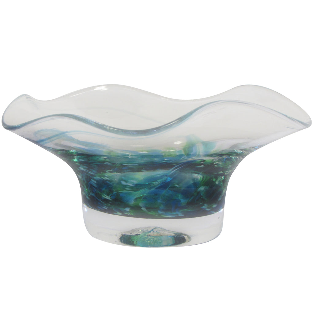 Hand-blown Glass Bowl-Seascape Green