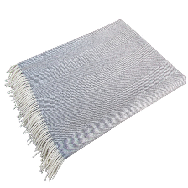 Lambswool Blanket-Grey Herringbone