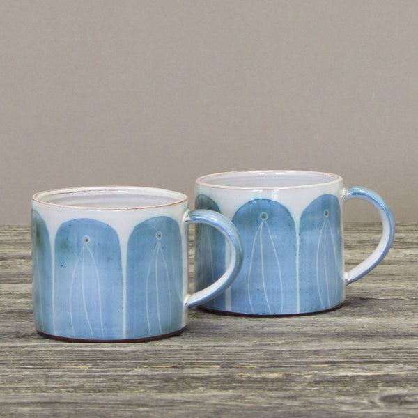 Set of Two Handmade Coffee Mugs- Blue