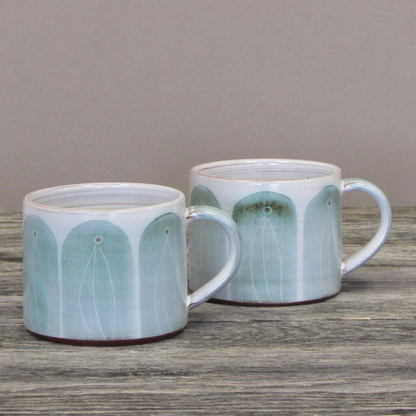 Set of Two Handmade Coffee Mugs- Green