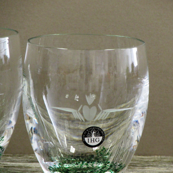Set of Two 10oz Whiskey and Scotch Glasses by The Handmade Glass Company Waterford-Claddagh Design