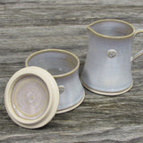Handmade sugar bowl with lid and creamer set by Castle Arch Pottery Ireland