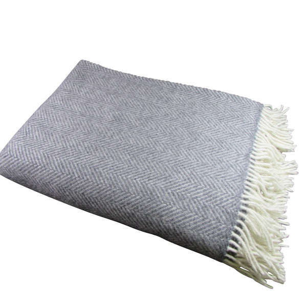 Merino Cashmere Wool Blanket-Grey