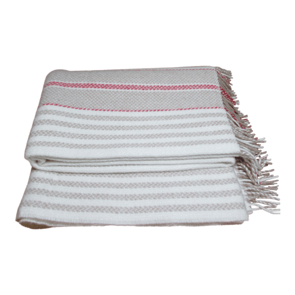 Merino Cashmere Wool Blanket-Cream/Red