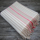 Merino Cashmere Wool Blanket-Cream/Red - The Irish Gift Market