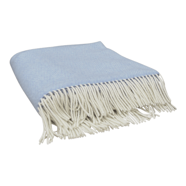 Merino Cashmere Wool Blanket-Ice Blue