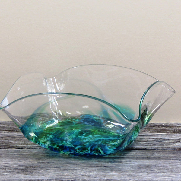 Medium Square Glass Bowl- Seascape Green