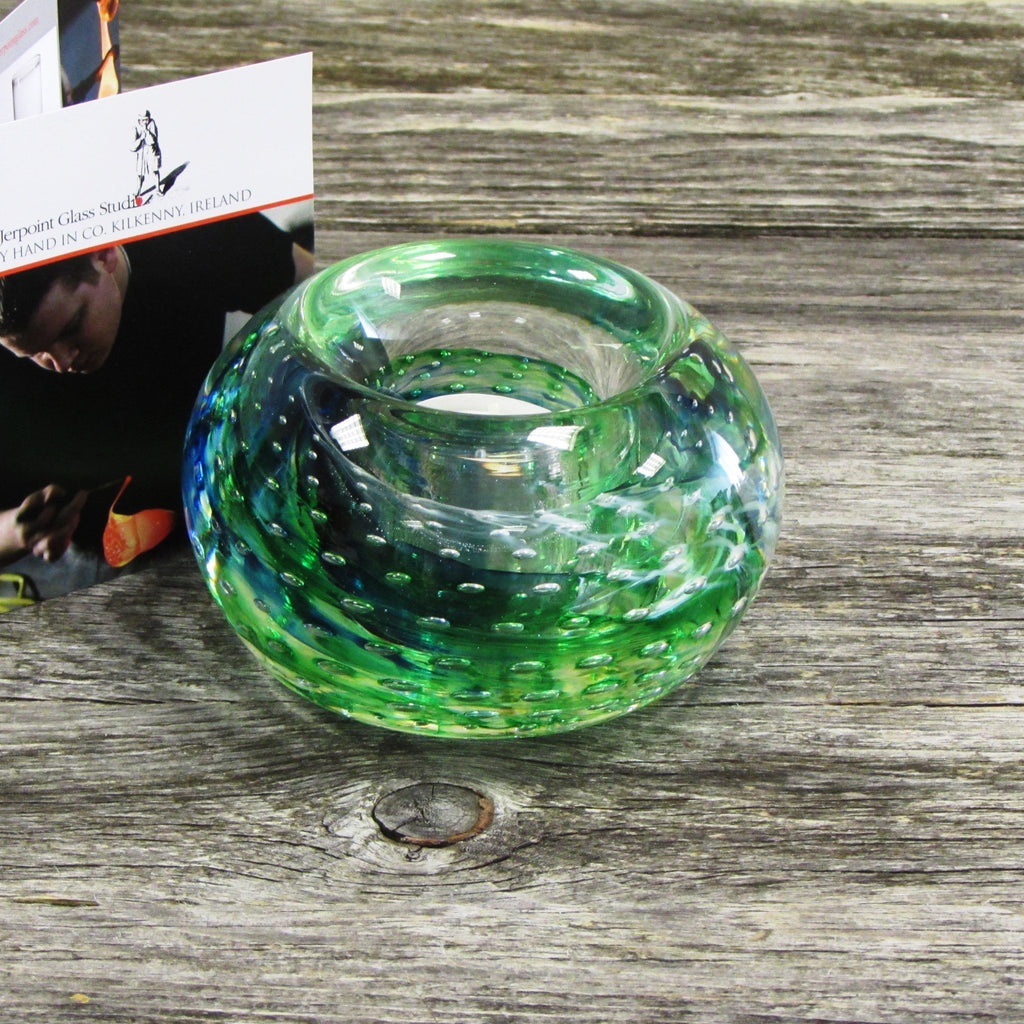 Glass Tea Light Holder- Seascape Green
