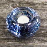 Blue handmade glass tea light holder made in Ireland by Jerpoint Glass Studio