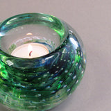 Green handmade glass tea light holder made in Ireland by Jerpoint Glass Studio