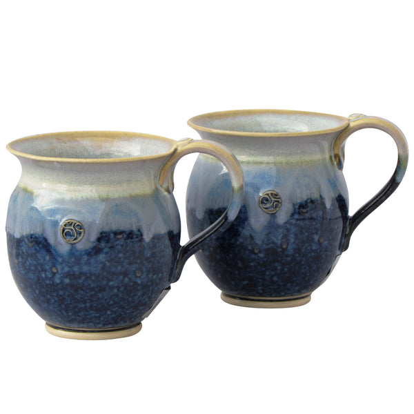 Set of 2 Blue Round Coffee Tea Mugs-300ml