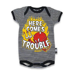 Six Bunnies Short Sleeved Babygrow - Here Comes Trouble - Badass Babies
