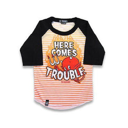 Six Bunnies Kids Raglan T-Shirt - Here Comes Trouble - Badass Babies