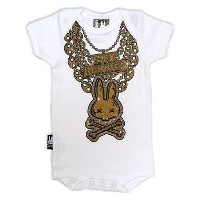 Six Bunnies Short Sleeved Babygrow - Bling Bunny - Badass Babies