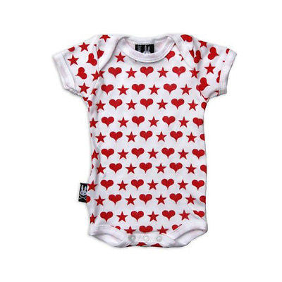 Six Bunnies Short Sleeved Babygrow - Hearts n Stars - Badass Babies