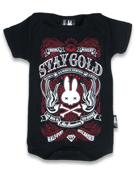 Six Bunnies Short Sleeved Babygrow - Stay Gold - Black/Red - Badass Babies