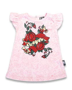 Six Bunnies Baby Dress - Rosebud Flash - Badass Babies