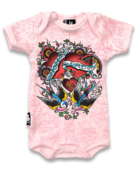 Mom Dad Pink (Hearts & Swallows) Babygrow - Six Bunnies