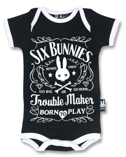 Six Bunnies Short Sleeved Babygrow - Troublemaker - Badass Babies