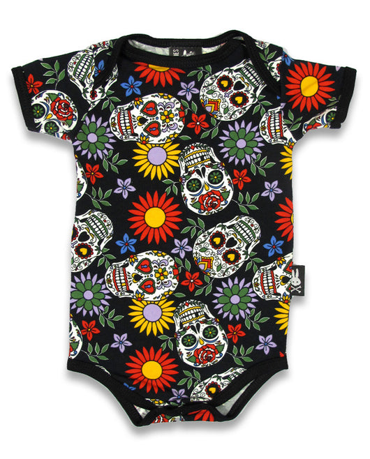 Sugar Skulls Babygrow - Six Bunnies Black