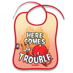 Here Comes Trouble Baby Bib - Six Bunnies