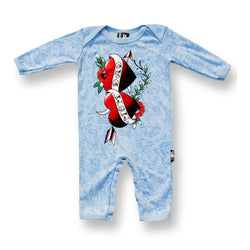 Six Bunnies Baby Playsuit - Mom and Dad Hearts boys blue - Badass Babies