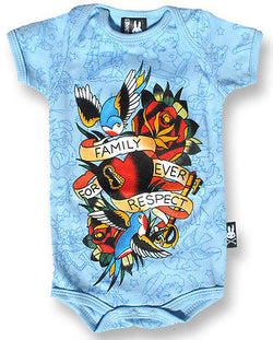 Six Bunnies Short Sleeved Babygrow - Family Forever tattoo flash blue - Badass Babies