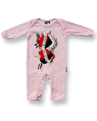 Six Bunnies Baby Playsuit - Mom and Dad Hearts girls pink - Badass Babies