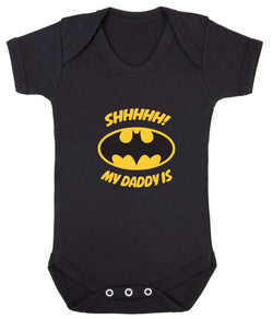 Shhhhh My Daddy Is Batman Babygrow - Badass Babies - 1