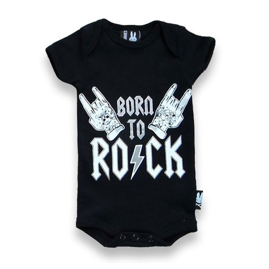 Six Bunnies Short Sleeved Babygrow - Born to Rock - Badass Babies