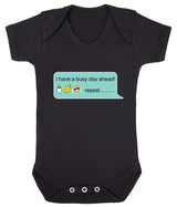 Busy Day - Bottle Sleep Cry Repeat Emoji Babygrow - Badass Babies - 9