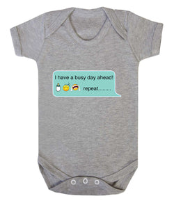 Busy Day - Bottle Sleep Cry Repeat Emoji Babygrow - Badass Babies - 1