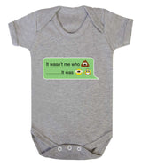 It Wasnt Me Who Pooper - It Was Grandad Emoji Babygrow - Badass Babies - 3